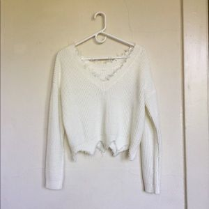 Sweaters - Trendy white distressed sweater